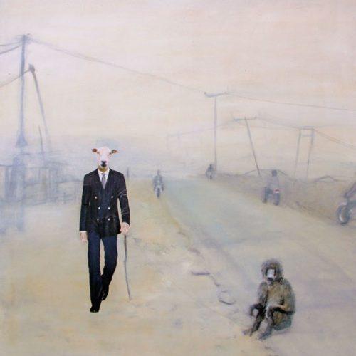 Eraserhead, 88x95cm, Acryl, Collage auf Leinwand, 2009