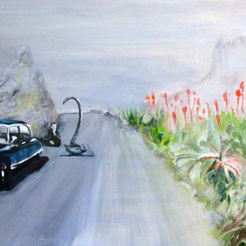 I´ll Stay Here, 80x120cm, Acryl, Collage auf Leinwand, 2012