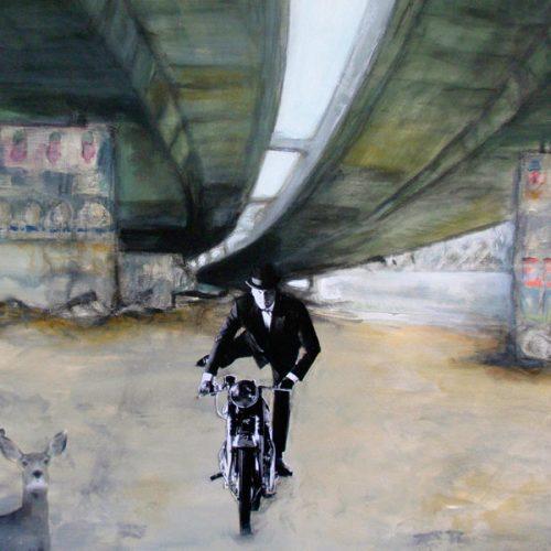 Mr. William Deer, 80x80cm, Acryl, Collage auf Leinwand, 2012
