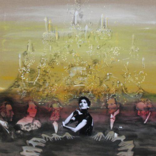 Seance III, 130x120cm, Acryl, Collage auf Leinwand, 2013