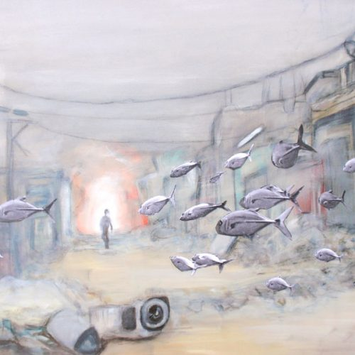 Weird Fishes, 70x90cm, Acryl, Collage auf Leinwand, 2010
