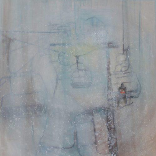Snow Circus, 95x95cm, Acryl, Collage auf Leinwand, 2012