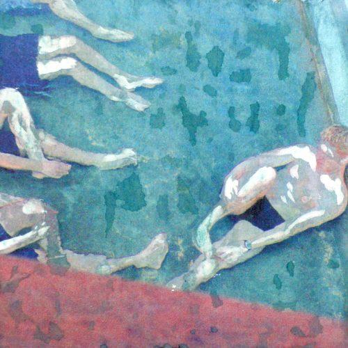 Nichtschwimmer II, 15x15cm, Collage, 2015