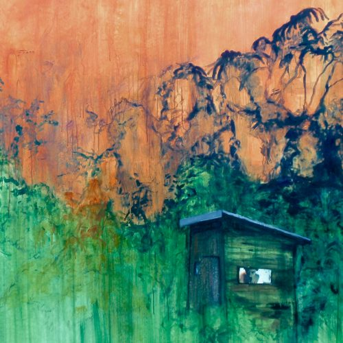 Darkwood, 120x110cm, Acryl, Pastellkreide, Collage auf Leinwand, 2015