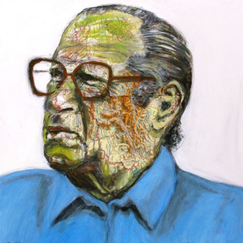 Bruno Kreisky, 50x50cm, Acryl, Collage auf Leinwand, 2011
