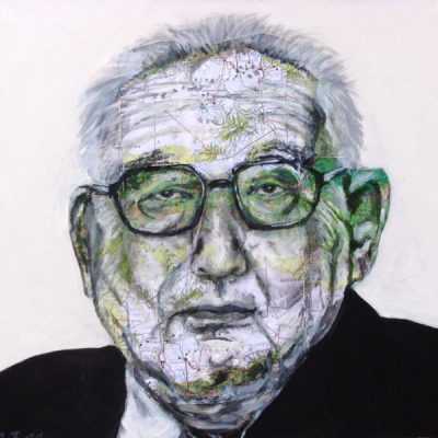 Henry Kissinger, 50x50cm, Acryl, Collage auf Leinwand, 2011