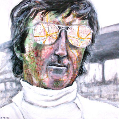 Jochen Rindt, 50x50cm, Acryl, Collage auf Leinwand, 2012