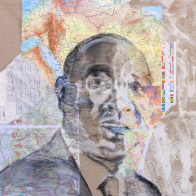 Global Career Series 2, 60x60cm, Acryl, Pastellkreide, Collage auf Leinwand, 2013