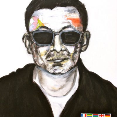 Wong Kar Wai (white), 50x40cm, Acryl, Collage auf Leinwand, 2011