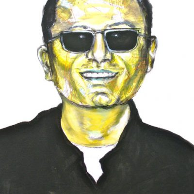 Wong Kar Wai (yellow), 50x40cm, Acryl, Collage auf Leinwand, 2011