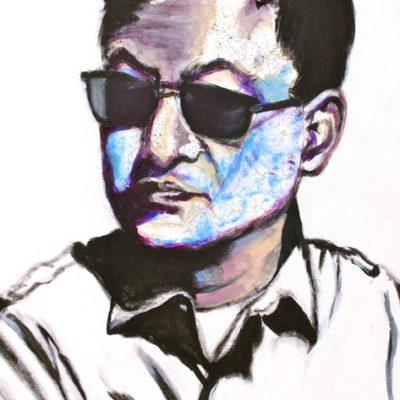 Wong Kar Wai (blue), 50x40cm, Acryl, Collage auf Leinwand, 2011