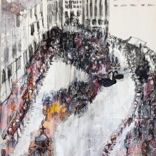 Franz Ferdinand, 76x51cm, Acryl, Pastellkreide, Collage, 2016
