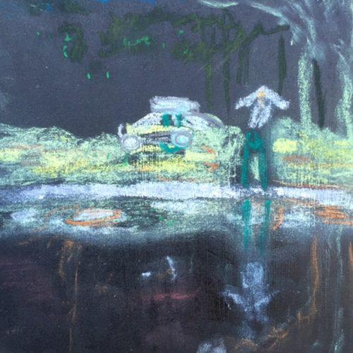 Peter Doig für die Handtasche 03, 15x15cm, Pastellkreide, 2016