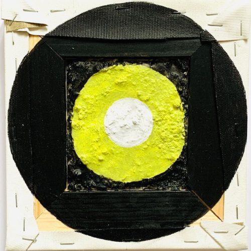 B-Side (yellow), 18x18cm, Acryl auf Beton/Leinwand, 2019